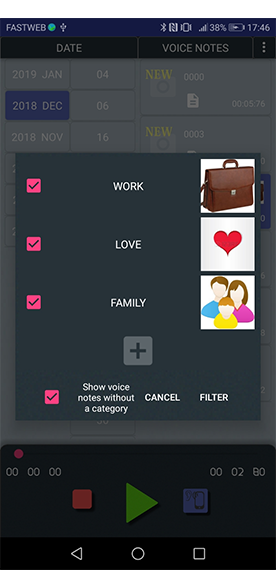 filter by category menu