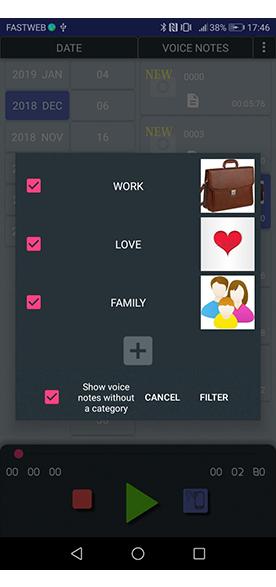 filter by category menu